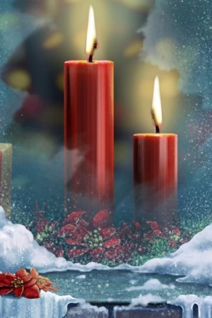 Red Christmas Candles IPhone Wallpaper Mobile Wallpaper