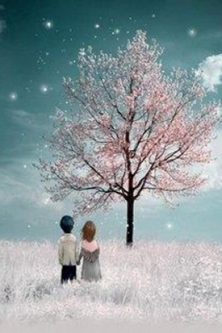 Pink Tree And Couple IPhone Wallpaper Mobile Wallpaper