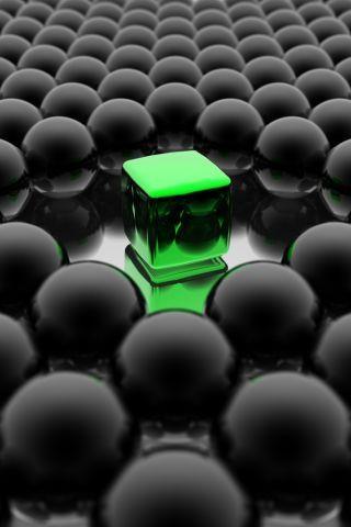 Green Cube IPhone Wallpaper Mobile Wallpaper