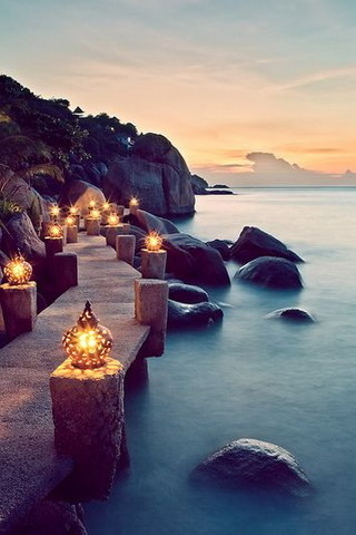 Lights At Ko Tao In Thailand IPhone Wallpaper Mobile Wallpaper