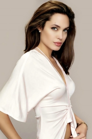 White Dress Angelina Jolie IPhone Wallpaper Mobile Wallpaper