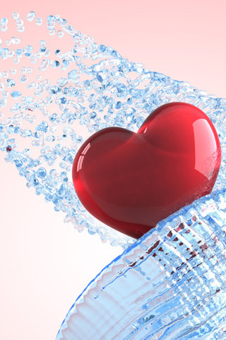 Blue Splash 3D Heart IPhone Wallpaper Mobile Wallpaper