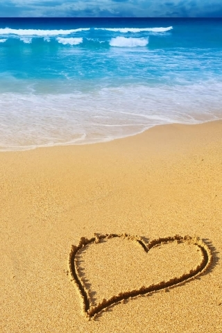 Beach Heart IPhone Wallpaper Mobile Wallpaper