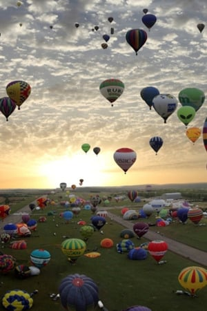 Balloons Over Land IPhone Wallpaper Mobile Wallpaper