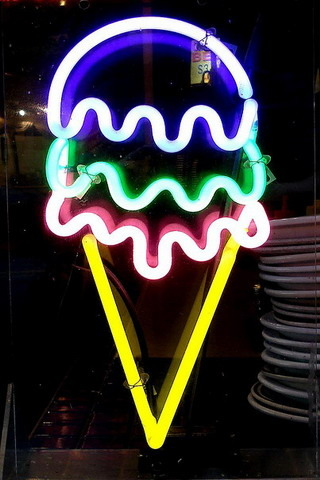 Ice Cream Neon Light IPhone Wallpaper Mobile Wallpaper