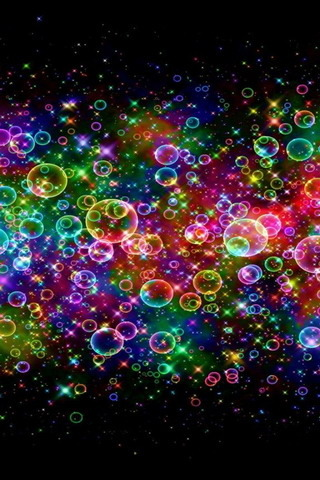Colorful Neon Bubbles Mobile Wallpaper