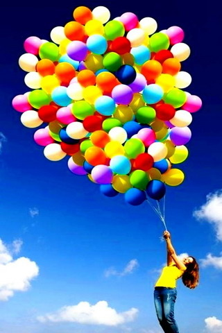Rainbow Balloons With Girl IPhone Wallpaper Mobile Wallpaper