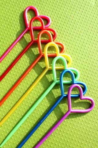 Rainbow Hearts Sticks IPhone Wallpaper Mobile Wallpaper