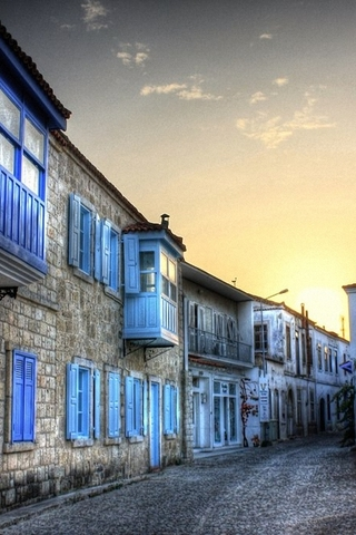Alacati Blue Houses In Turkey IPhone Wallpaper Mobile Wallpaper