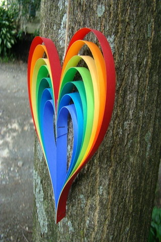 Rainbow Paper Heart On Tree IPhone Wallpaper Mobile Wallpaper
