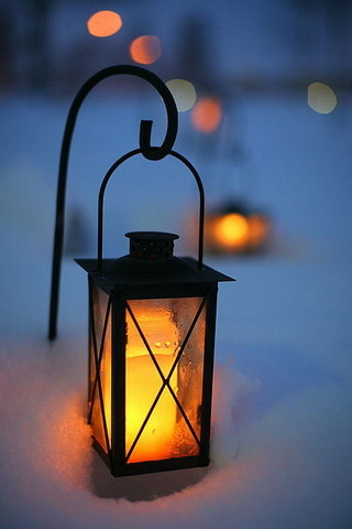 Lantern Bokeh Snow IPhone Wallpaper Mobile Wallpaper