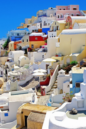 Santorini Oia Greece Houses IPhone Wallpaper Mobile Wallpaper