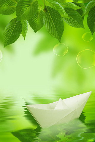 Paper Boat 3D Green Nature IPhone Wallpaper Mobile Wallpaper