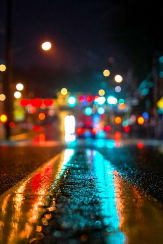 Download Night Color Lights On Road Iphone Wallpaper