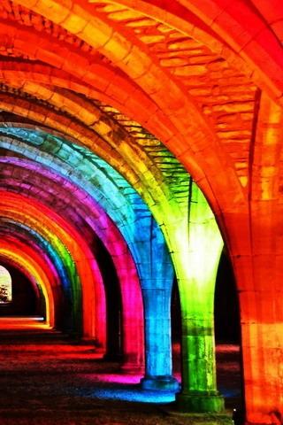 3D Rainbow Lights IPhone Wallpaper Mobile Wallpaper