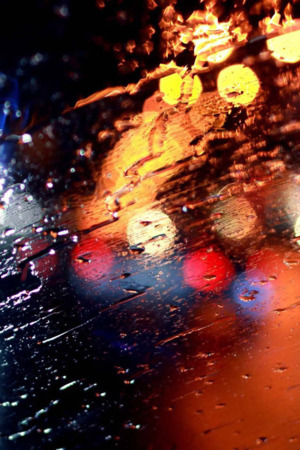 Rainy Windshield & Bokeh Iphone Wallpaper Mobile Wallpaper
