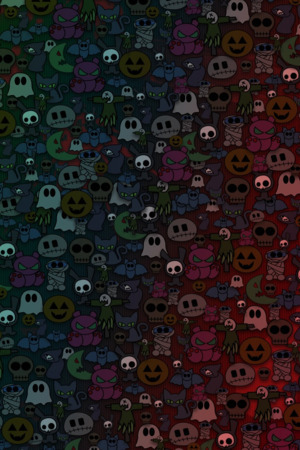 Halloween Monsters Faces IPhone Wallpaper Mobile Wallpaper