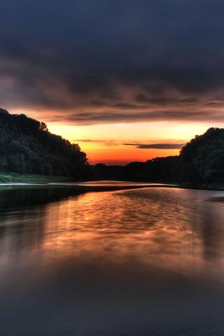River & Sunset IPhone Wallpaper Mobile Wallpaper