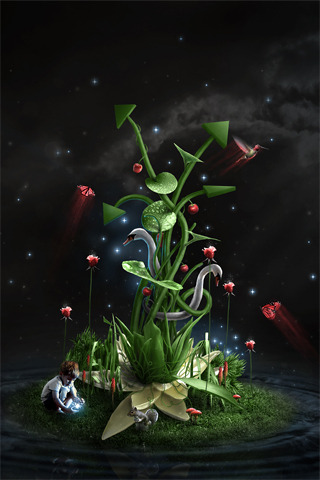 3D Green Plant & Boy IPhone Wallpaper Mobile Wallpaper