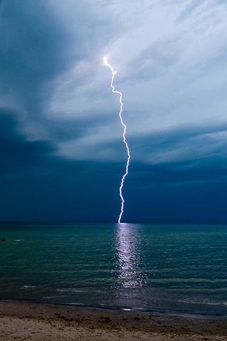 Lightning Strike & Night Sea IPhone Wallpaper Mobile Wallpaper