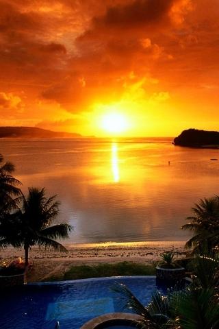 Island Resort & Sun IPhone Wallpaper Mobile Wallpaper