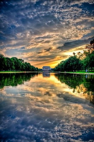 Sunset A Lincoln Memorial Washington IPhone Wallpaper Mobile Wallpaper