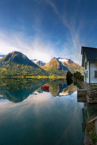 House & Mountain Norway Lake IPhone Wallpaper Mobile Wallpaper
