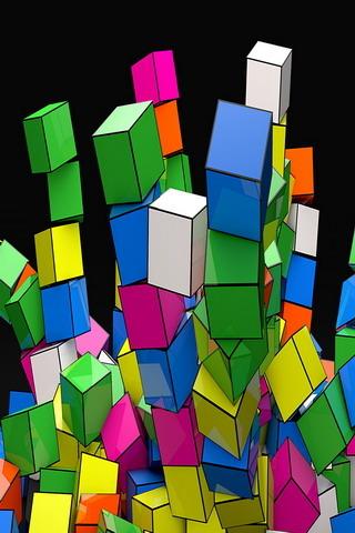 3D Cubes Rainbow IPhone Wallpaper Mobile Wallpaper