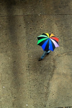 Rainbow Umbrella Over View IPhone Wallpaper Mobile Wallpaper