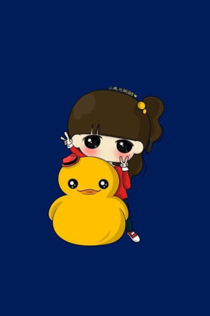Little Girls With Duck IPhone Wallpaper Mobile Wallpaper