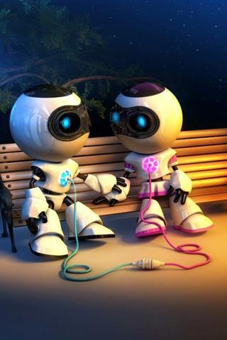 Robots Together Love IPhone Wallpaper Mobile Wallpaper