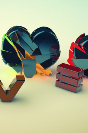 Love And Heart 3D IPhone Wallpaper Mobile Wallpaper