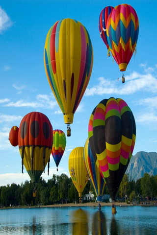 Colorful Balloon Flying Over IPhone Wallpaper Mobile Wallpaper