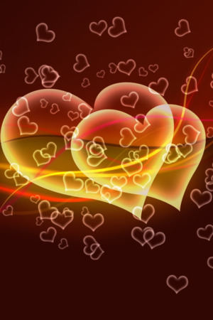 Cute Orange Hearts IPhone Wallpaper Mobile Wallpaper