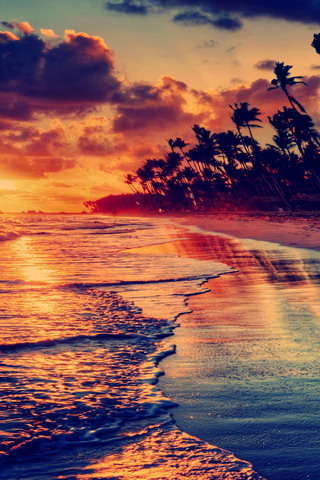 Sunset Beach & Red Sky IPhone Wallpaper Mobile Wallpaper