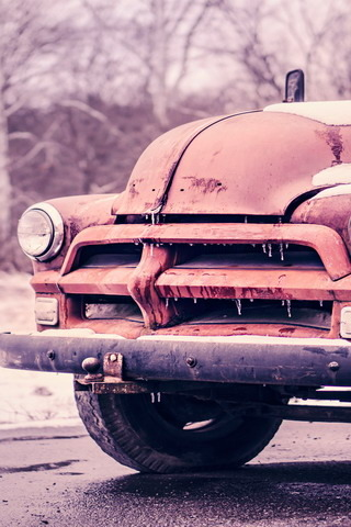 Pink Old Frozen Car IPhone Wallpaper Mobile Wallpaper