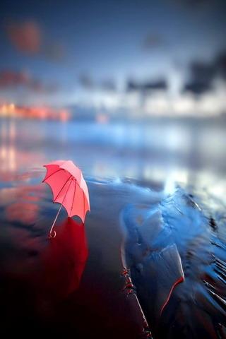Pink Umbrella On Sea IPhone Wallpaper Mobile Wallpaper