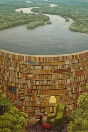Books Library Jacek Yerka IPhone Wallpaper Mobile Wallpaper