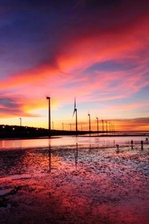 Orange Seaside Windmill IPhone Wallpaper Mobile Wallpaper