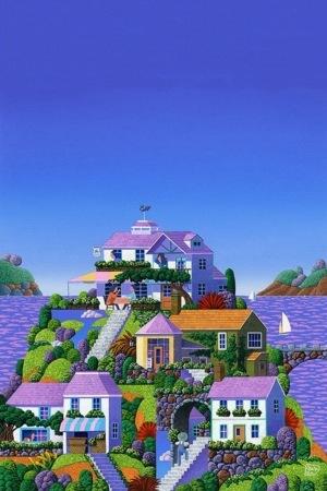 Beautiful Purple Houses IPhone Wallpaper Mobile Wallpaper