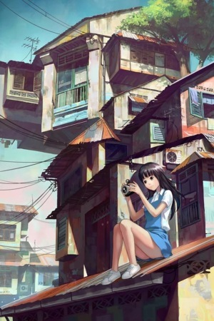 Camera Girl On Top House IPhone Wallpaper Mobile Wallpaper