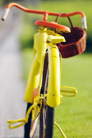 Yellow Bicycle On Road IPhone Wallpaper Mobile Wallpaper