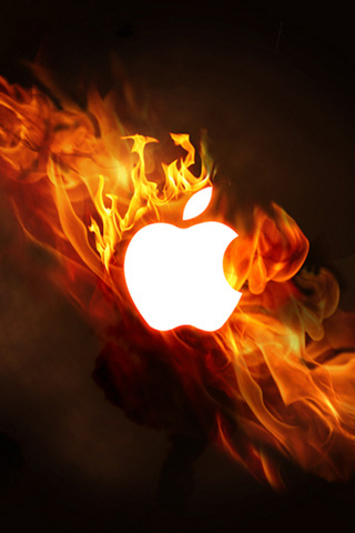 Fire Apple Cute IPhone Wallpaper Mobile Wallpaper