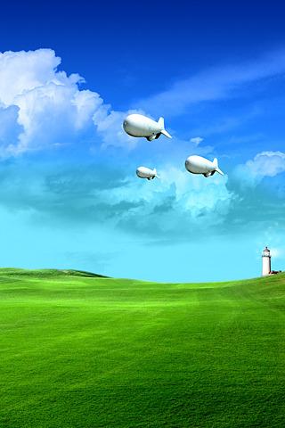 Air Balloons & Green Field IPhone Wallpaper Mobile Wallpaper
