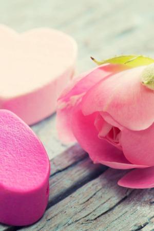 Love Heart Flower Pink Mobile Wallpaper
