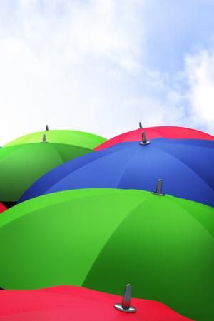 Colorful Umbrella & Sky Clouds  Mobile Wallpaper