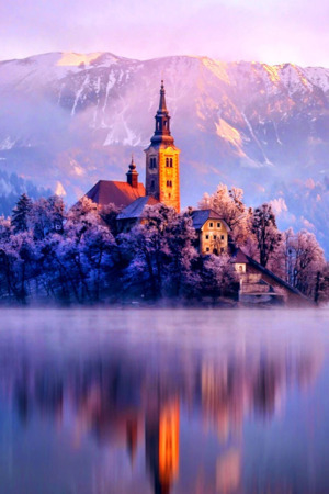 Lake Monastery Fortress Winter IPhone Wallpaper Mobile Wallpaper