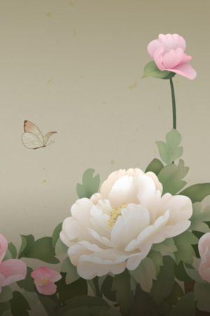 3D Flowers & Butterfly Mobile Wallpaper