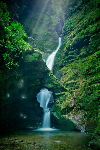 Waterfall Mountain At St Nectans Kieve IPhone Wallpaper Mobile Wallpaper