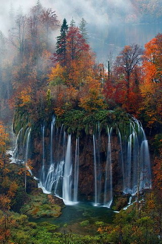 Lovely Waterfalls & Autumn IPhone Wallpaper Mobile Wallpaper